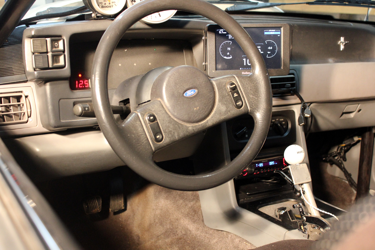 Dashboard view 1989 Mustang Holley EFI
