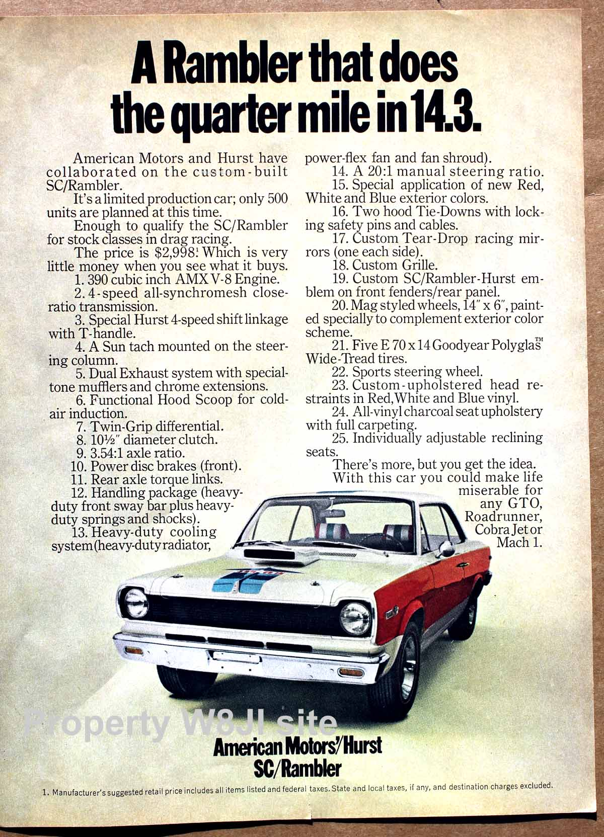 SC Rambler supercar advertisement