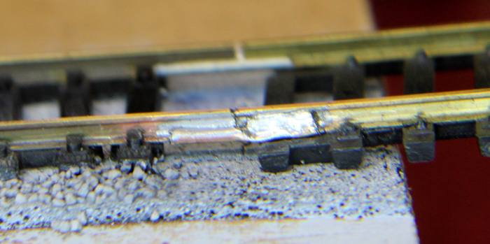 after cleaning HO track joint solder