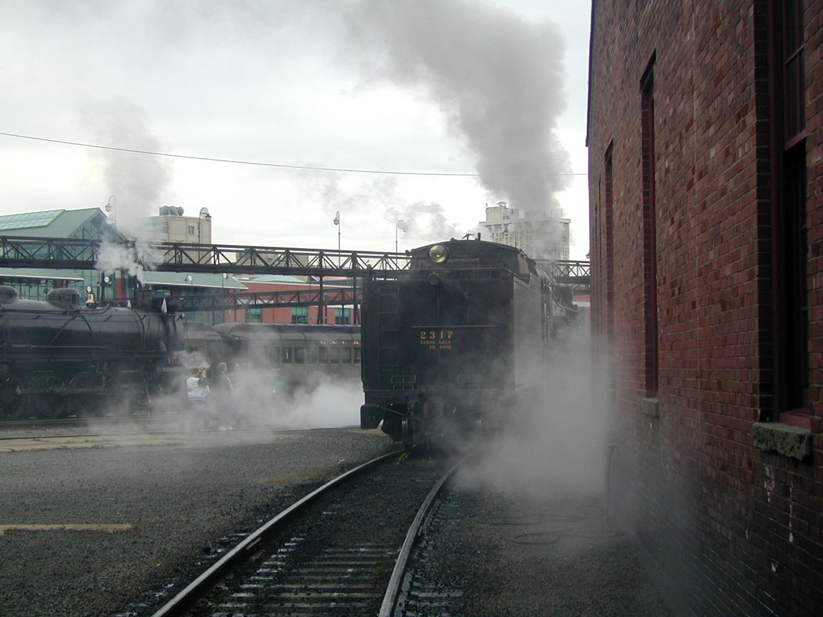 Two steam near shop